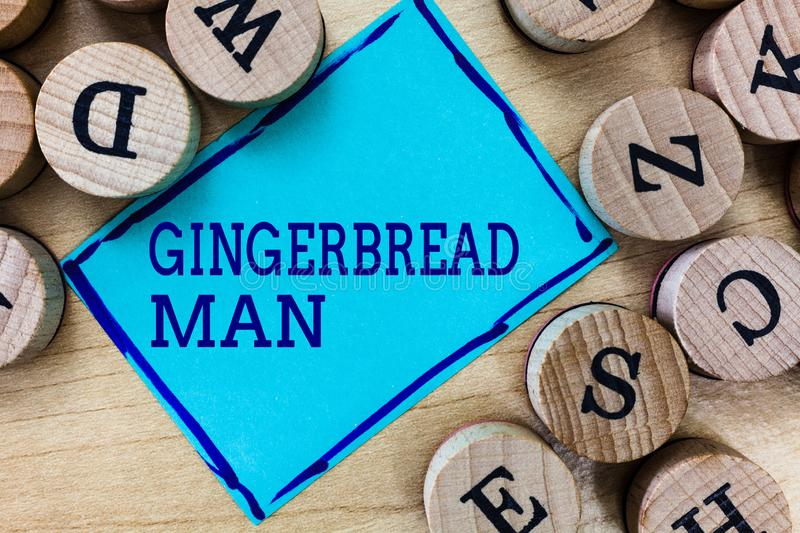 Word writing text Gingerbread Man. Business concept for cookie made of gingerbread usually in the shape of human.  stock photo