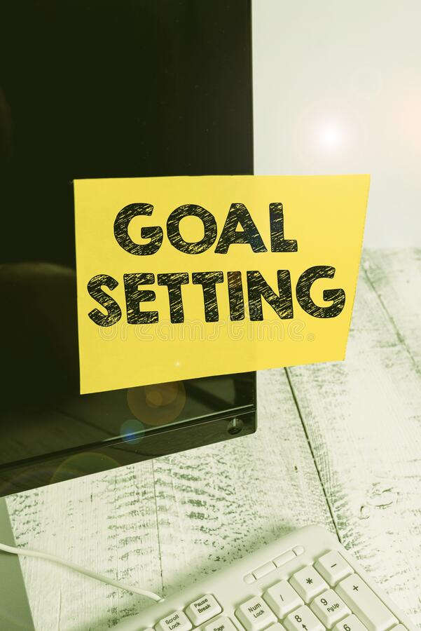 Word writing text Goal Setting. Business concept for process of identifying something that you want to accomplish Notation paper. Word writing text Goal Setting stock photography