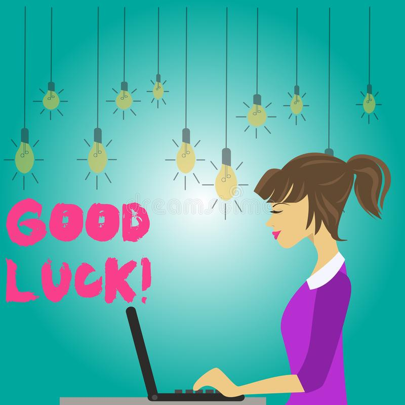 Word writing text Good Luck. Business concept for used praising demonstrating or group for something done good way photo. Word writing text Good Luck. Business vector illustration