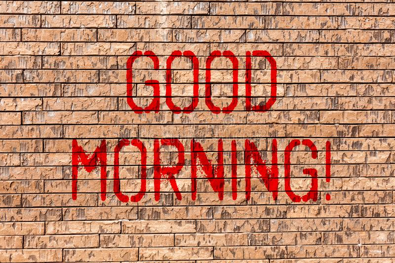 Word writing text Good Morning. Business concept for Greeting Wishes for a great day Inspirational Brick Wall art like. Word writing text Good Morning. Business stock photography