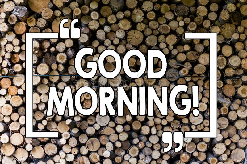 Word writing text Good Morning. Business concept for Greeting Wishes for a great day Inspirational Wooden background. Word writing text Good Morning. Business stock photo