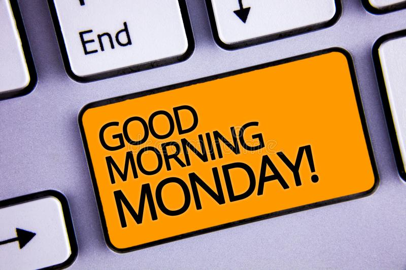 Word writing text Good Morning Monday Motivational Call. Business concept for Happy Positivity Energetic Breakfast Silvery keyboar. D yellow button two arrow key royalty free stock photography