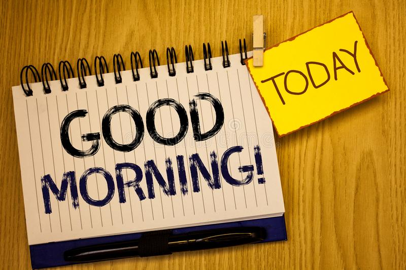 Word writing text Good Morning Motivational Call. Business concept for Greeting Wishes for a great day Inspirational. Wordss writing textss Good Morning stock image