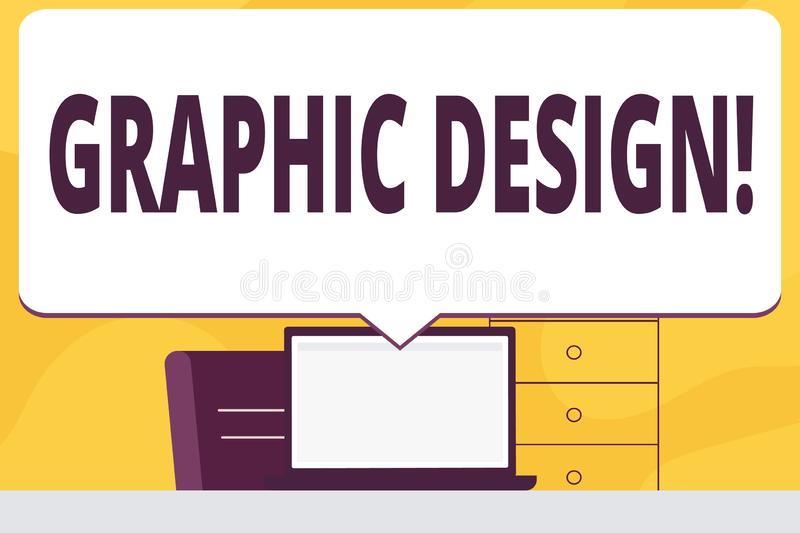 Word writing text Graphic Design. Business concept for Art of combining Text Images in advertising Blank Huge Speech. Word writing text Graphic Design. Business royalty free illustration
