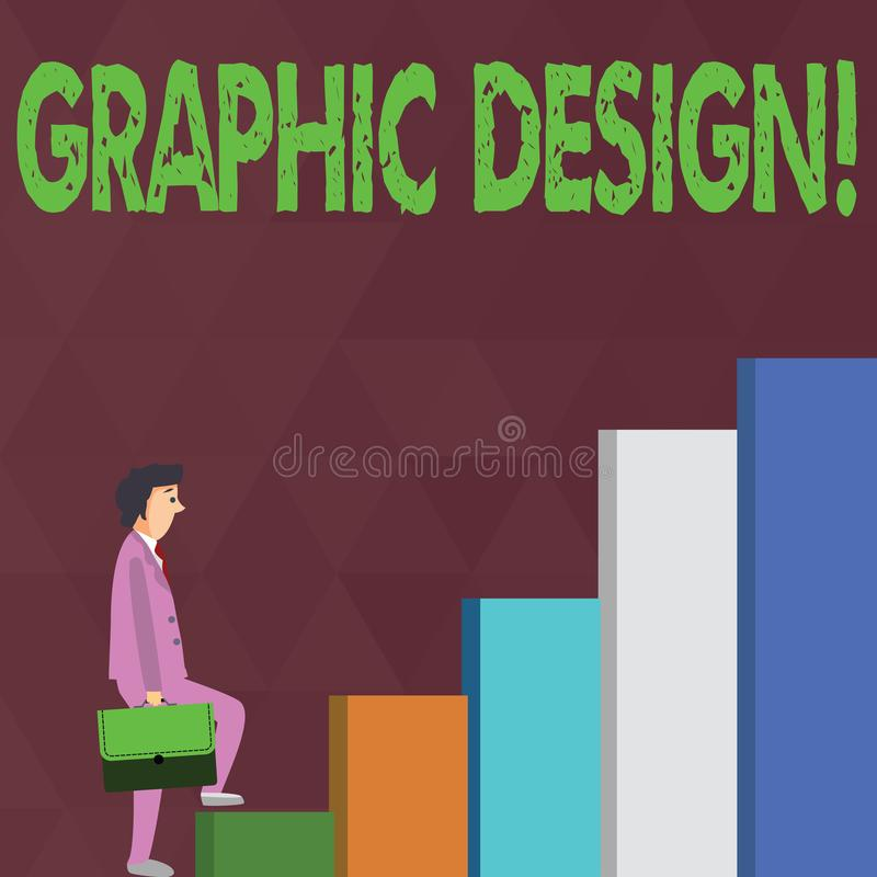 Word writing text Graphic Design. Business concept for Art of combining Text Images in advertising Businessman Carrying. Word writing text Graphic Design royalty free illustration