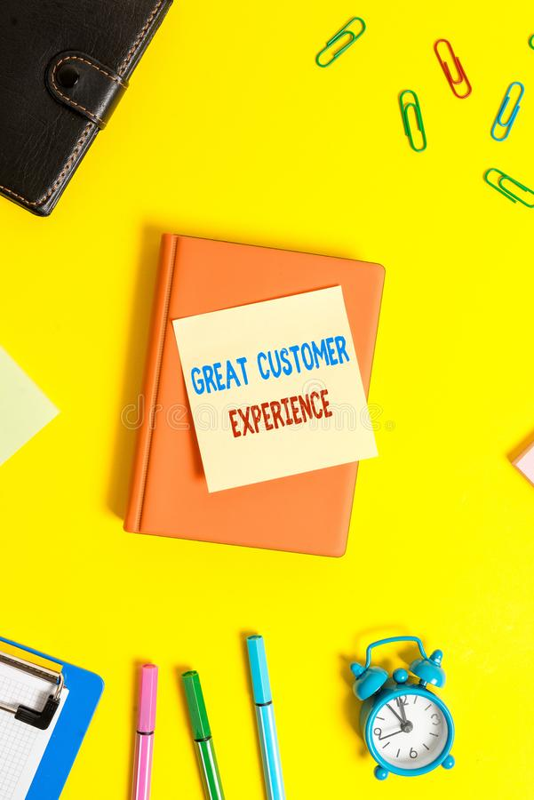 Word writing text Great Customer Experience. Business concept for responding to clients with friendly helpful way Flat. Word writing text Great Customer stock photo