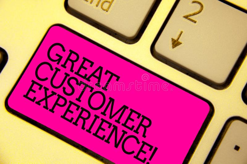 Word writing text Great Customer Experience. Business concept for responding to clients with friendly helpful way Keyboard pink ke. Y Intention create computer royalty free stock images