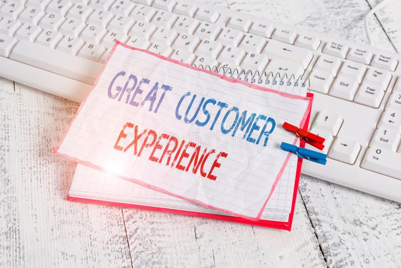 Word writing text Great Customer Experience. Business concept for responding to clients with friendly helpful way. Word writing text Great Customer Experience stock photography