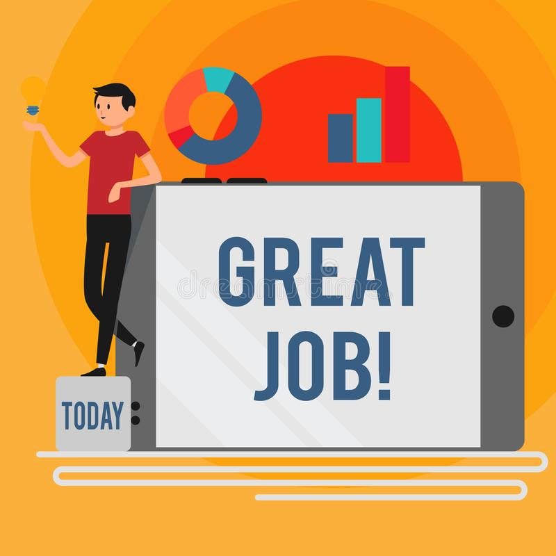 Word writing text Great Job. Business concept for used praising someone for something they have done very well Man. Word writing text Great Job. Business photo royalty free illustration