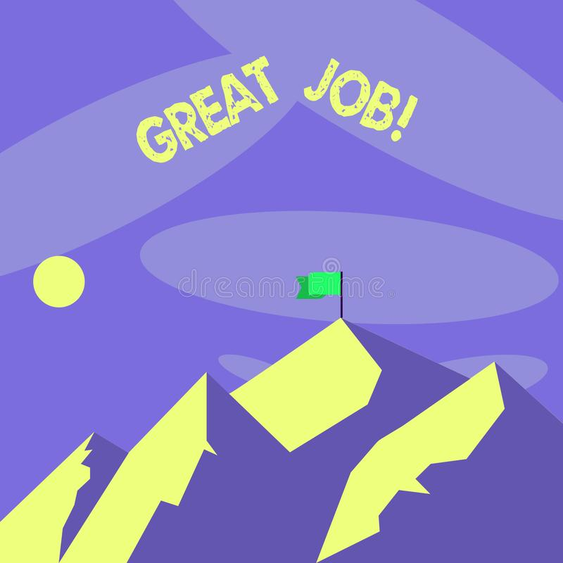 Word writing text Great Job. Business concept for used praising someone for something they have done very well Mountains. Word writing text Great Job. Business vector illustration