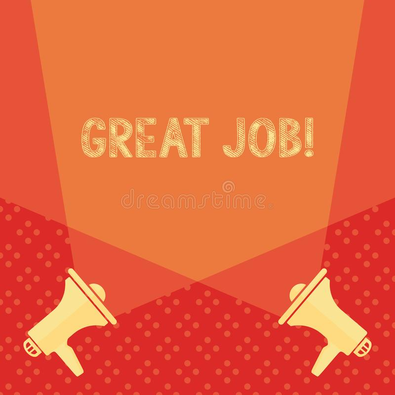 Word writing text Great Job. Business concept for used praising someone for something they have done well Blank Double. Word writing text Great Job. Business stock illustration