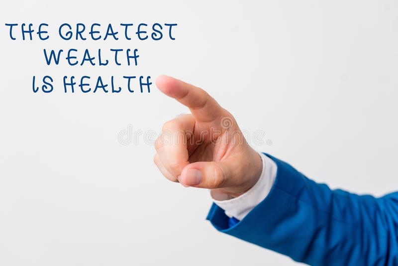 Word writing text The Greatest Wealth Is Health. Business concept for Many sacrifice their money just to be healthy. Word writing text The Greatest Wealth Is stock image