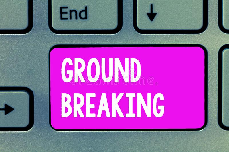 Word writing text Ground Breaking. Business concept for Very new and a big change from other things of its type.  stock photo