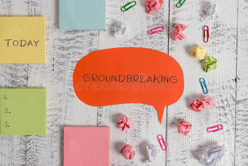 Word writing text Groundbreaking. Business concept for Very new and a big change from other things of its type Blank. Word writing text Groundbreaking. Business royalty free stock images