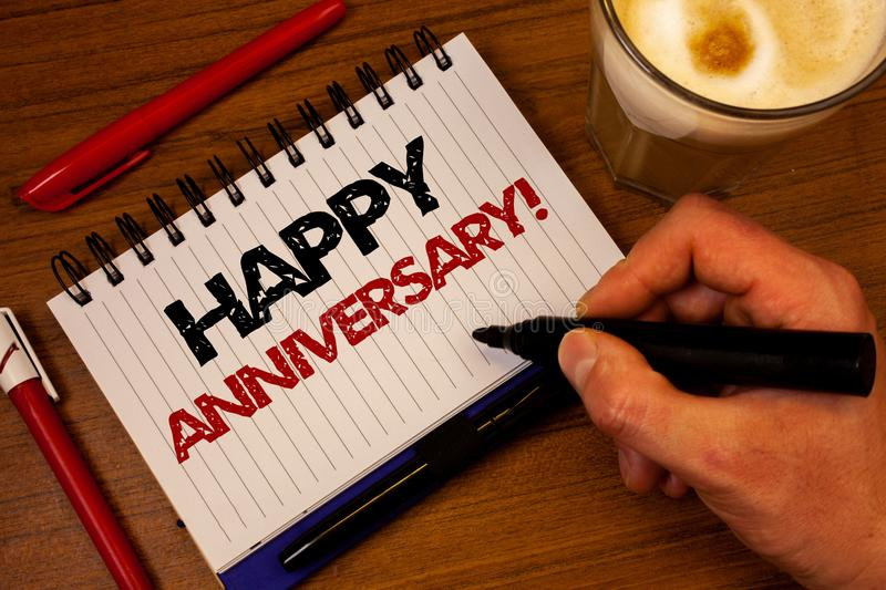 Word writing text Happy Anniversary Motivational Call. Business concept for Annual Special Milestone Commemoration Hand grasp blac stock image