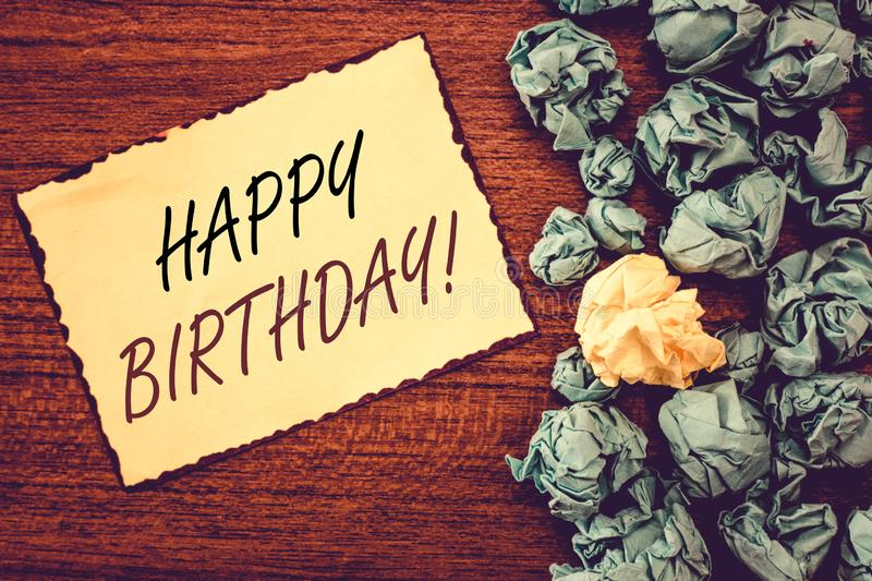 Word writing text Happy Birthday. Business concept for The birth anniversary of a person is celebrated with presents.  royalty free stock image