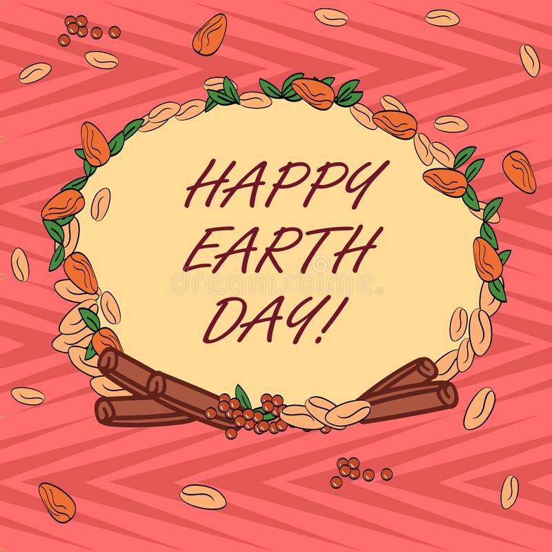 Word writing text Happy Earth Day. Business concept for Worldwide celebration of ecology environment preservation Wreath vector illustration