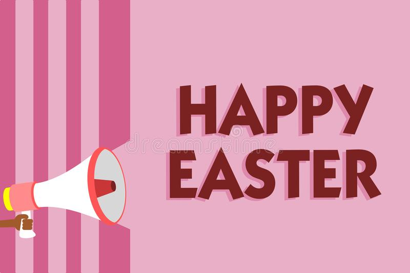Word writing text Happy Easter. Business concept for Christian feast commemorating the resurrection of Jesus Megaphone loudspeaker. Pink stripes important royalty free illustration