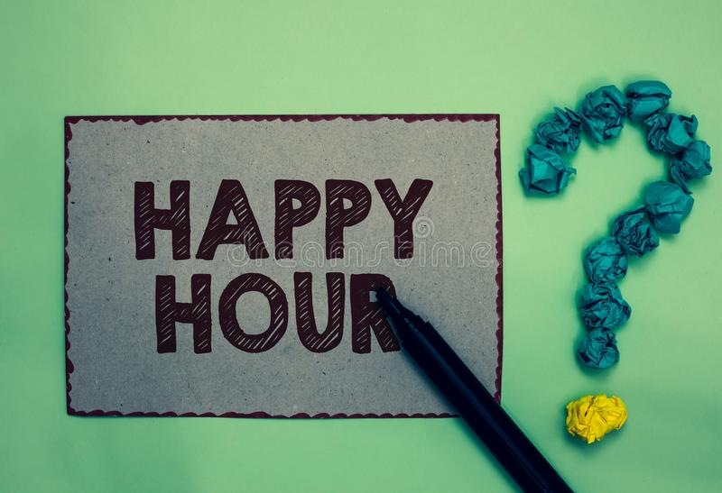 Word writing text Happy Hour. Business concept for Spending time for activities that makes you relax for a while Gray paper marker. Crumpled papers forming stock illustration