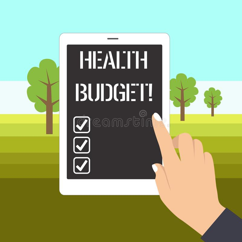 Word writing text Health Budget. Business concept for amount of money to support your health and wellbeing needs Female. Word writing text Health Budget royalty free illustration