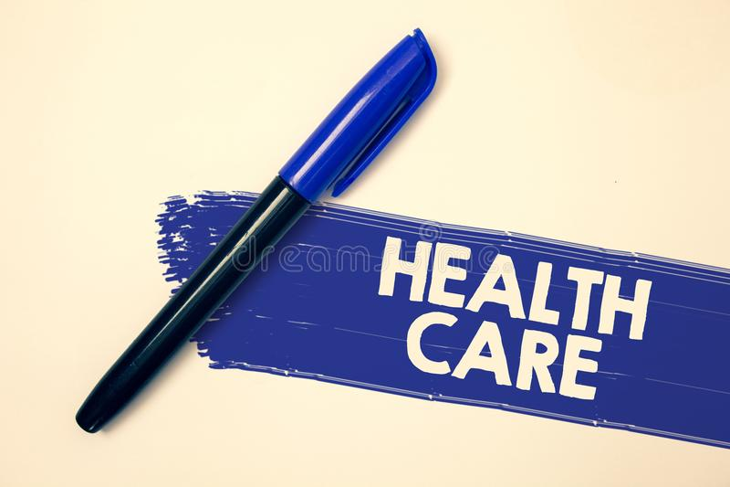 Word writing text Health Care. Business concept for Medical Maintenance Improvement of Physical Mental conditions Ideas messages f. Aded painting blue pen beige stock image