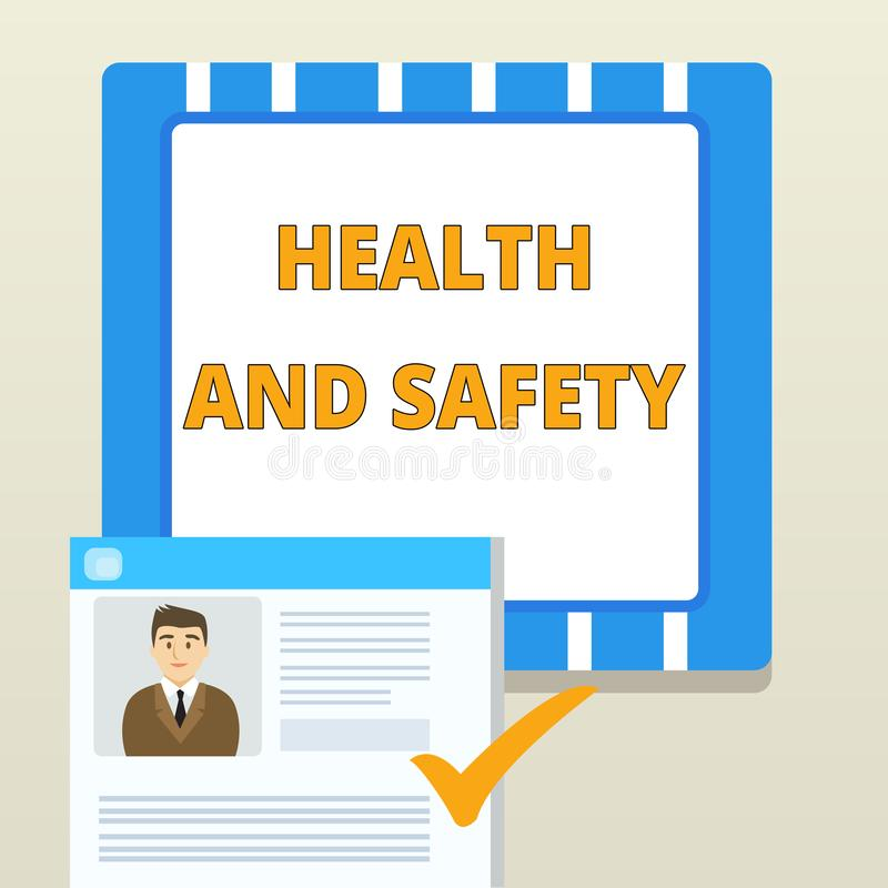 Word writing text Health And Safety. Business concept for procedures intended to prevent accident in workplace. Word writing text Health And Safety. Business vector illustration