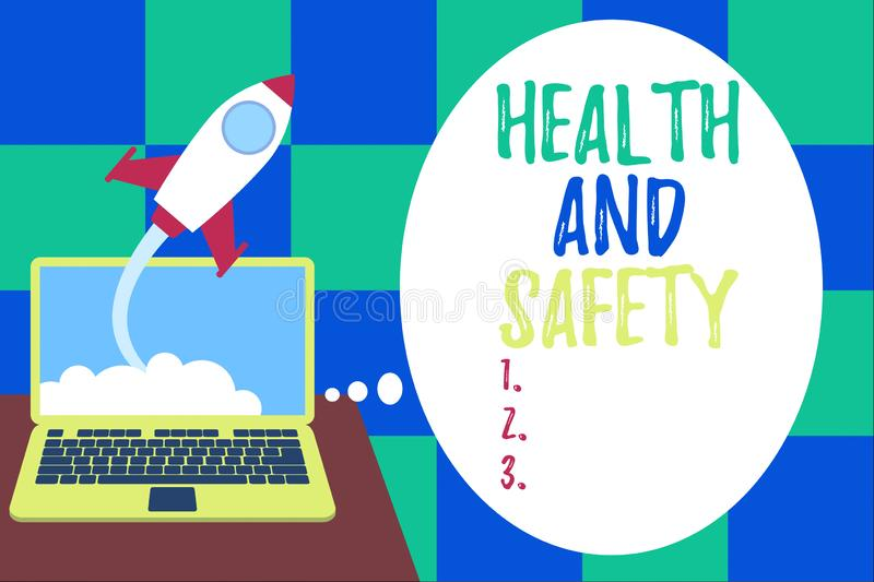 Word writing text Health And Safety. Business concept for procedures intended to prevent accident in workplace. Word writing text Health And Safety. Business stock illustration