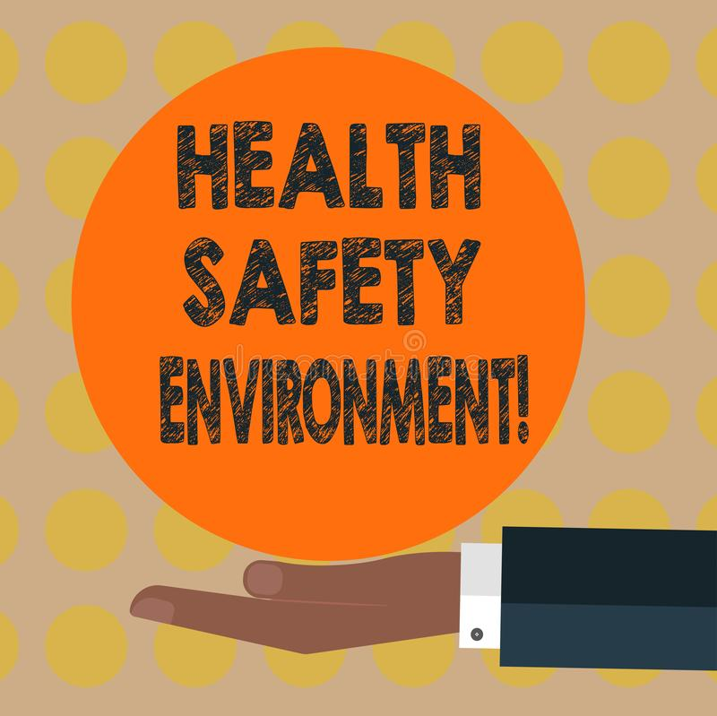 Word writing text Health Safety Environment. Business concept for Environmental protection and safety at work Hu analysis Hand in. Suit Offering Blank Solid vector illustration