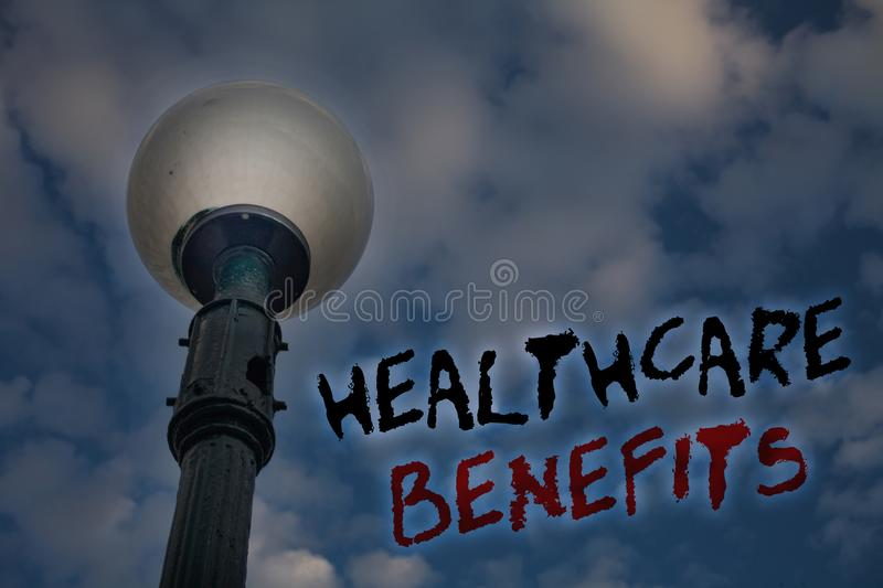 Word writing text Healthcare Benefits. Business concept for it is insurance that covers the medical expenses Light post blue cloud stock image