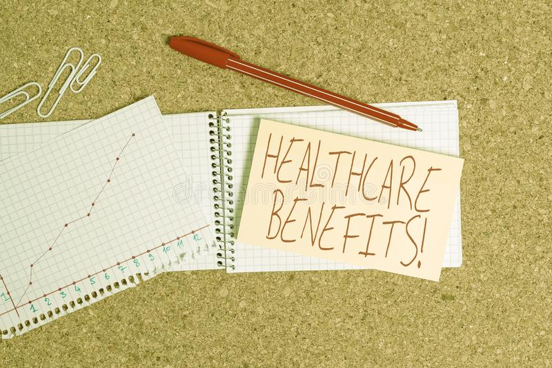 Word writing text Healthcare Benefits. Business concept for monthly fair market valueprovided to Employee dependents. Word writing text Healthcare Benefits stock images