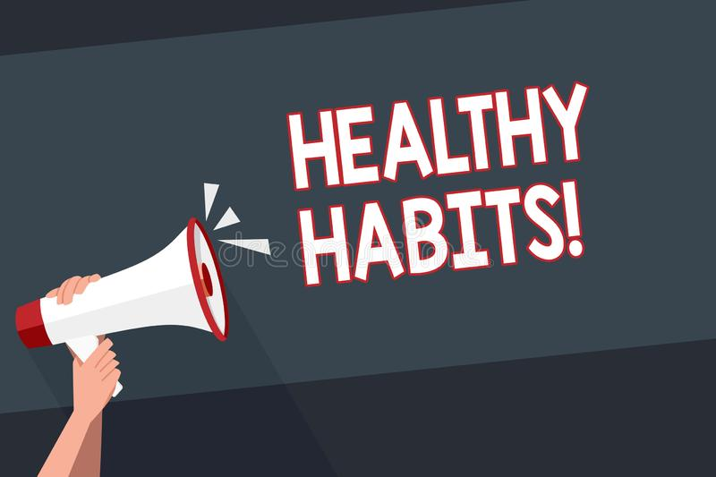 Word writing text Healthy Habits. Business concept for Good nutrition diet take care of oneself Weight Control. Word writing text Healthy Habits. Business photo stock photo