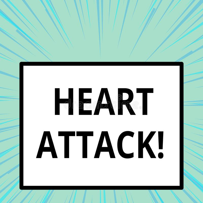 Word writing text Heart Attack. Business concept for sudden occurrence of coronary thrombosis resulting in death. stock illustration