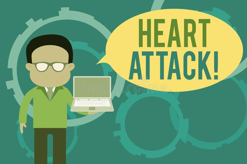 Word writing text Heart Attack. Business concept for sudden occurrence of coronary thrombosis resulting in death. Word writing text Heart Attack. Business photo stock illustration