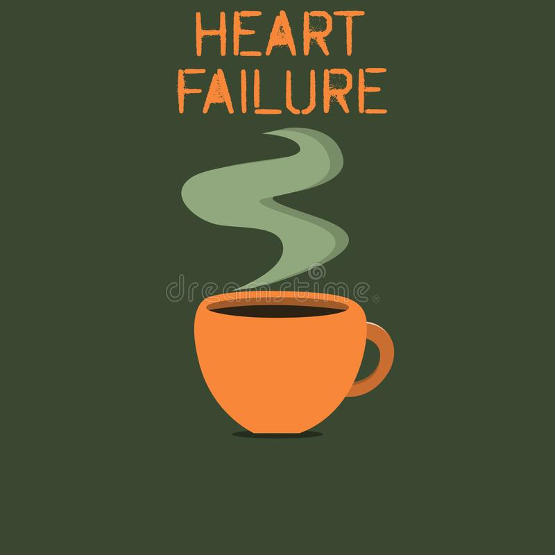 Word writing text Heart Failure. Business concept for Failure of the heart to function well Unable to pump blood vector illustration