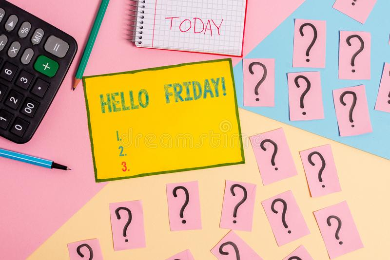 Word writing text Hello Friday. Business concept for you say this for wishing and hoping another good lovely week. Word writing text Hello Friday. Business photo stock images