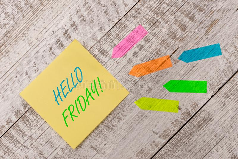 Word writing text Hello Friday. Business concept for you say this for wishing and hoping another good lovely week Plain. Word writing text Hello Friday. Business royalty free stock photos