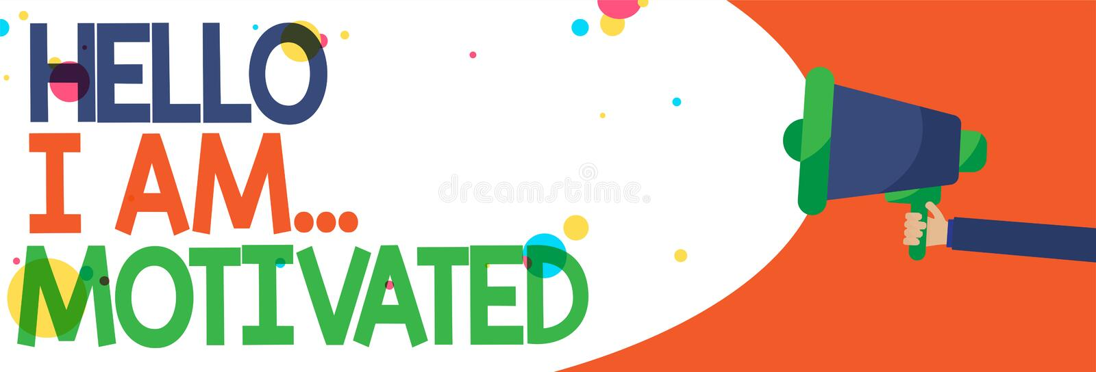 Word writing text Hello I Am... Motivated. Business concept for haivng inner sound to do more in work or life Man holding Megaphon. E loudspeaker screaming talk vector illustration