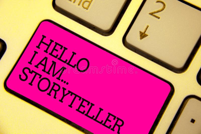 Word writing text Hello I Am... Storyteller. Business concept for introducing yourself as novels article writer Keyboard. Pink key Intention create computer stock photography