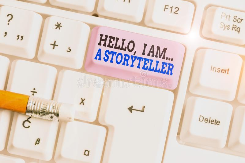 Word writing text Hello I Am A Storyteller. Business concept for introducing yourself as novels article writer White pc. Word writing text Hello I Am A stock images