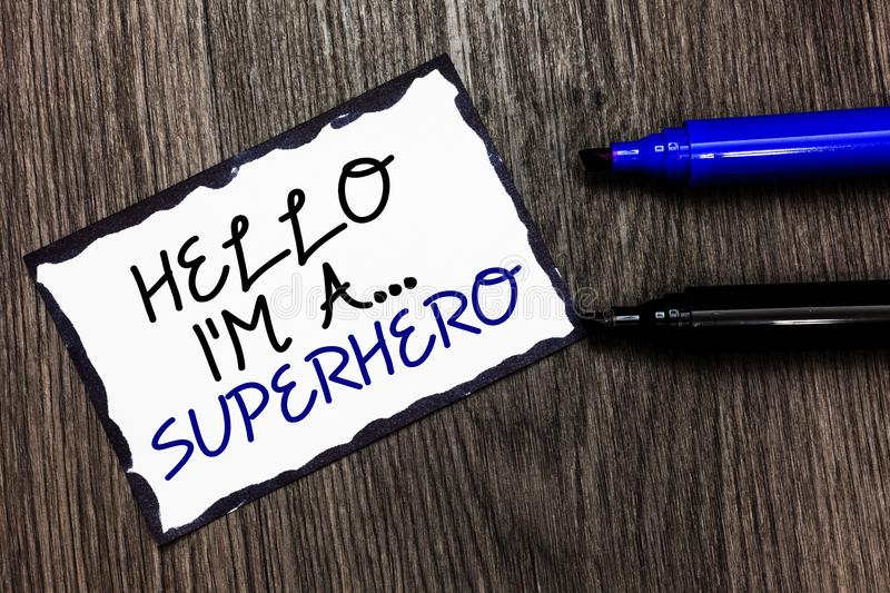 Word writing text Hello I am A ... Superhero. Business concept for Special powers Cartoon character Customs strenght Black bordere. D page with texts laid black stock image
