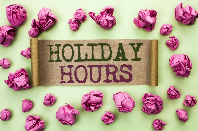 Word writing text Holiday Hours. Business concept for Celebration Time Seasonal Midnight Sales Extra-Time Opening written on Cardb. Word writing text Holiday royalty free stock photos