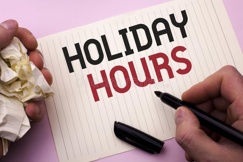Word writing text Holiday Hours. Business concept for Celebration Time Seasonal Midnight Sales Extra-Time Opening written by Man o. Word writing text Holiday royalty free stock image