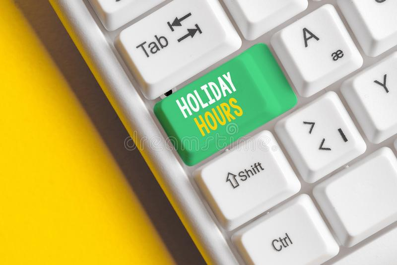Word writing text Holiday Hours. Business concept for employee receives twice their normal pay for all hours White pc. Word writing text Holiday Hours. Business stock photos