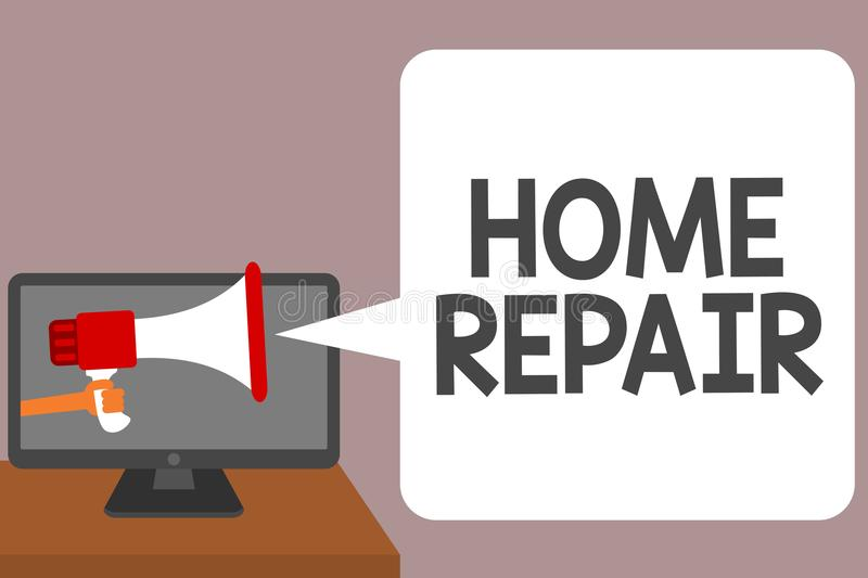 Word writing text Home Repair. Business concept for maintenance or improving your own house by yourself using tools Man holding Me. Gaphone loudspeaker computer stock illustration