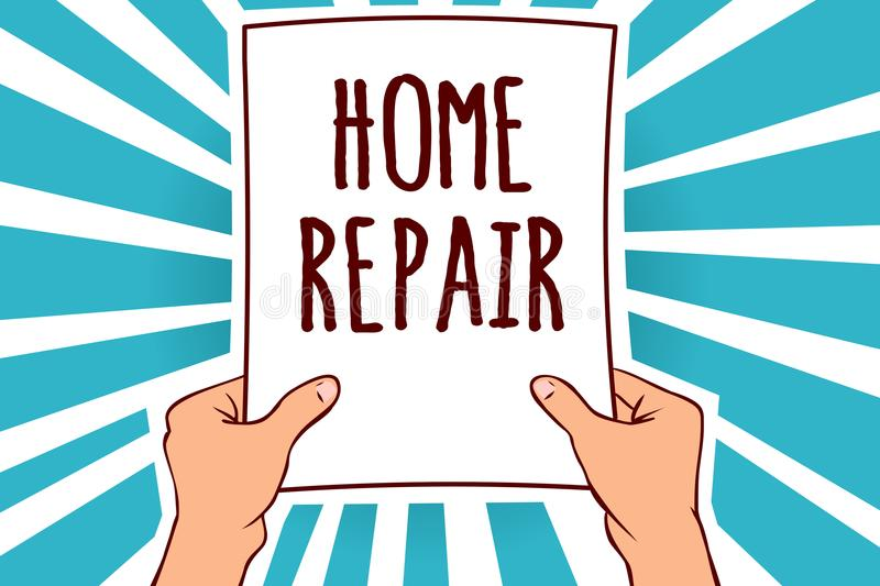 Word writing text Home Repair. Business concept for maintenance or improving your own house by yourself using tools Man holding pa. Per important message royalty free illustration