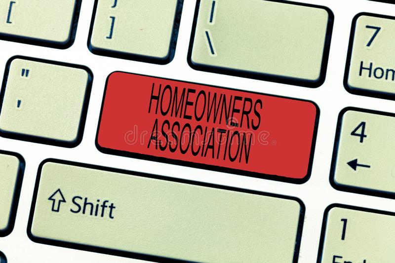 Word writing text Homeowners Association. Business concept for Organization with fee for upkeeps of Gated Community.  royalty free stock photos