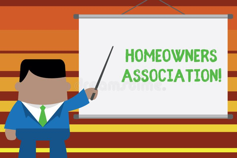 Word writing text Homeowners Association. Business concept for Organization with fee for upkeeps of Gated Community. Word writing text Homeowners Association royalty free illustration