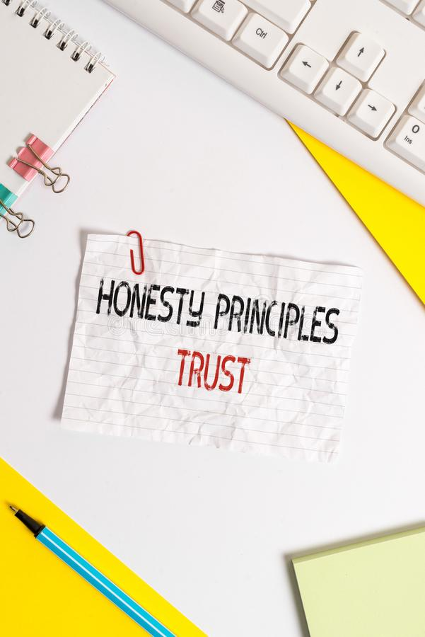 Word writing text Honesty Principles Trust. Business concept for believing someone words for granted Telling truth Flat. Word writing text Honesty Principles royalty free stock photos