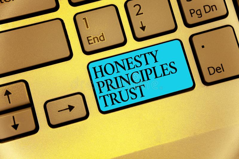 Word writing text Honesty Principles Trust. Business concept for believing someone words for granted Telling truth Keyboard blue k. Ey Intention create computer stock illustration