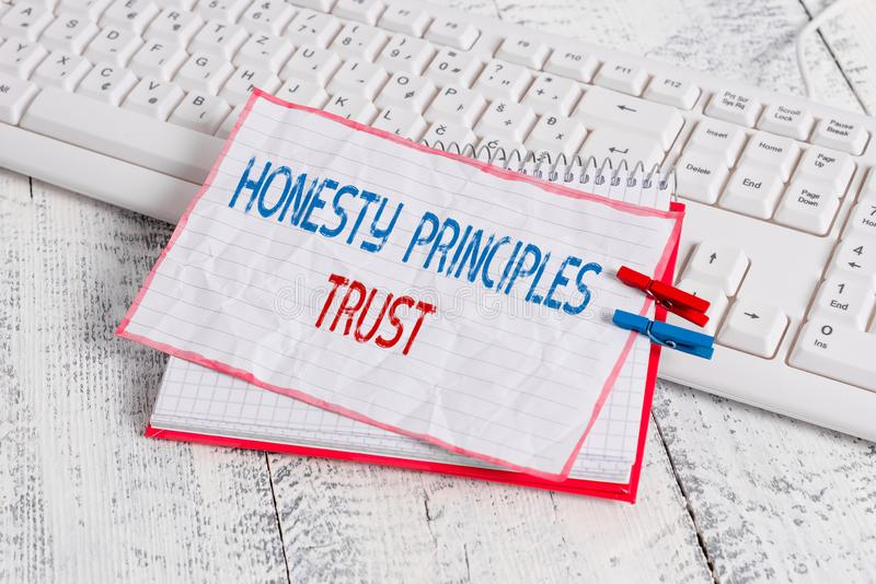 Word writing text Honesty Principles Trust. Business concept for believing someone words for granted Telling truth. Word writing text Honesty Principles Trust stock images